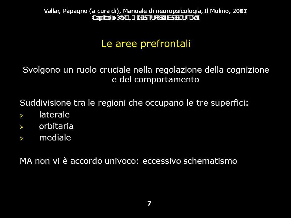 Le aree prefrontali Svolgono un ruolo cruciale nella regolazione della cognizione e del comportamento.
