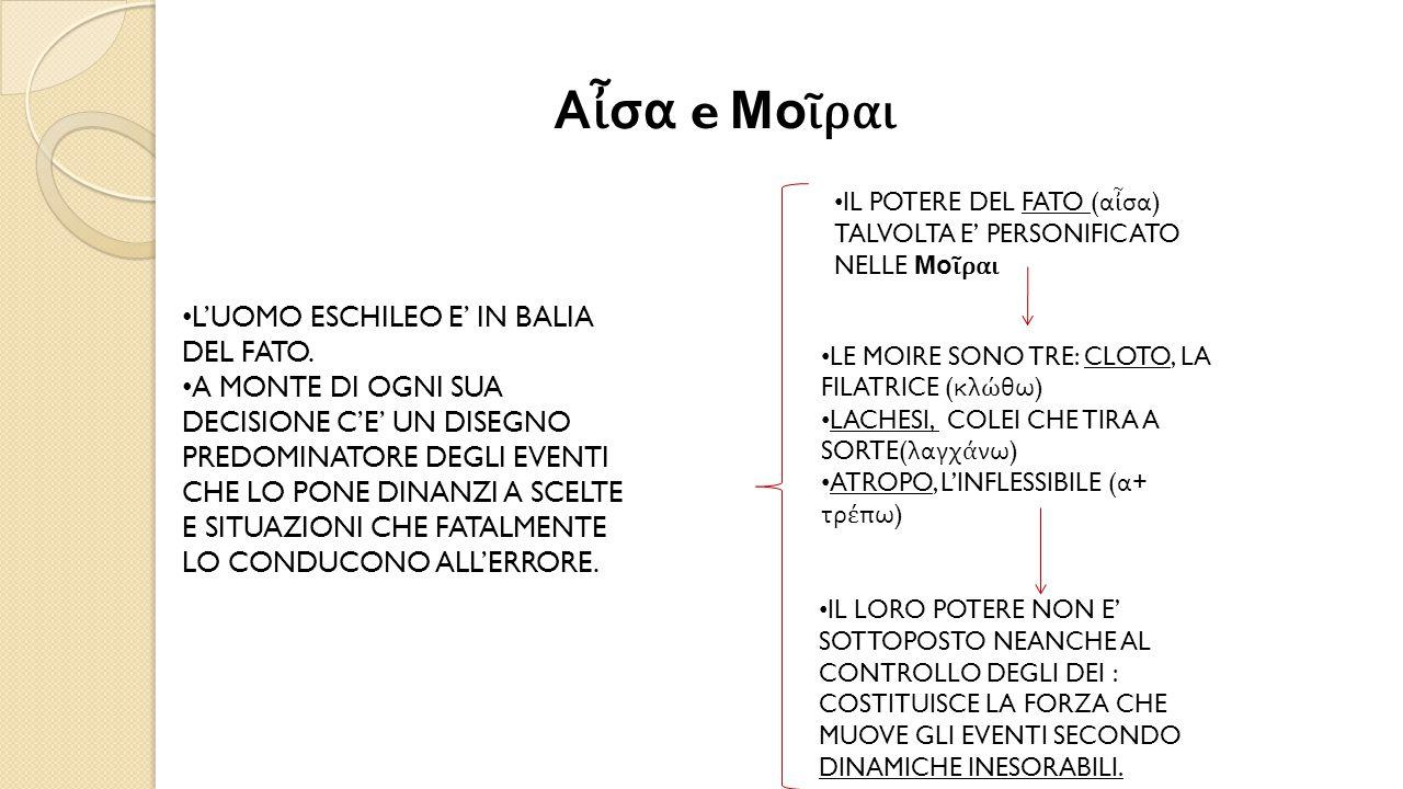 Αἶσα e Μοῖραι L'UOMO ESCHILEO E' IN BALIA DEL FATO.