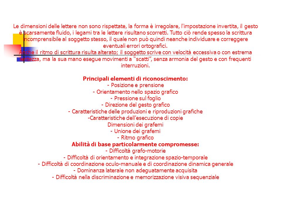 Principali elementi di riconoscimento: - Posizione e prensione