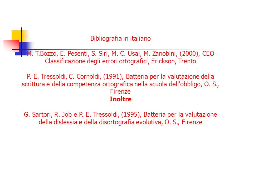 Bibliografia in italiano
