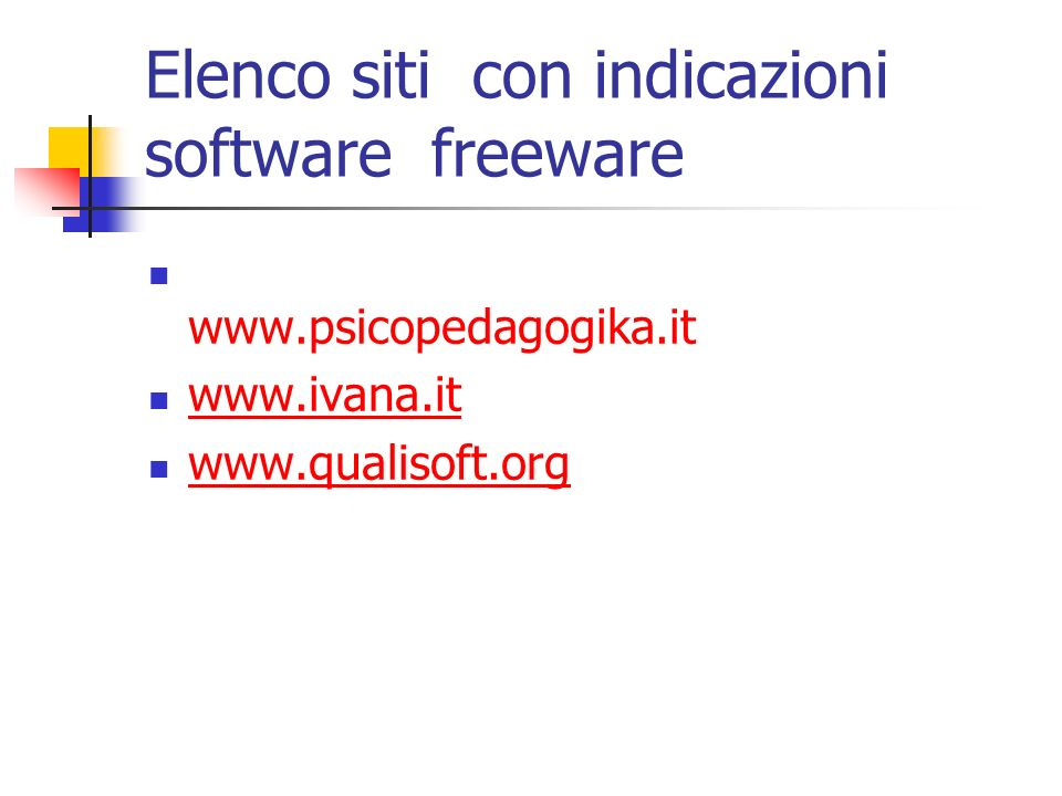 Elenco siti con indicazioni software freeware