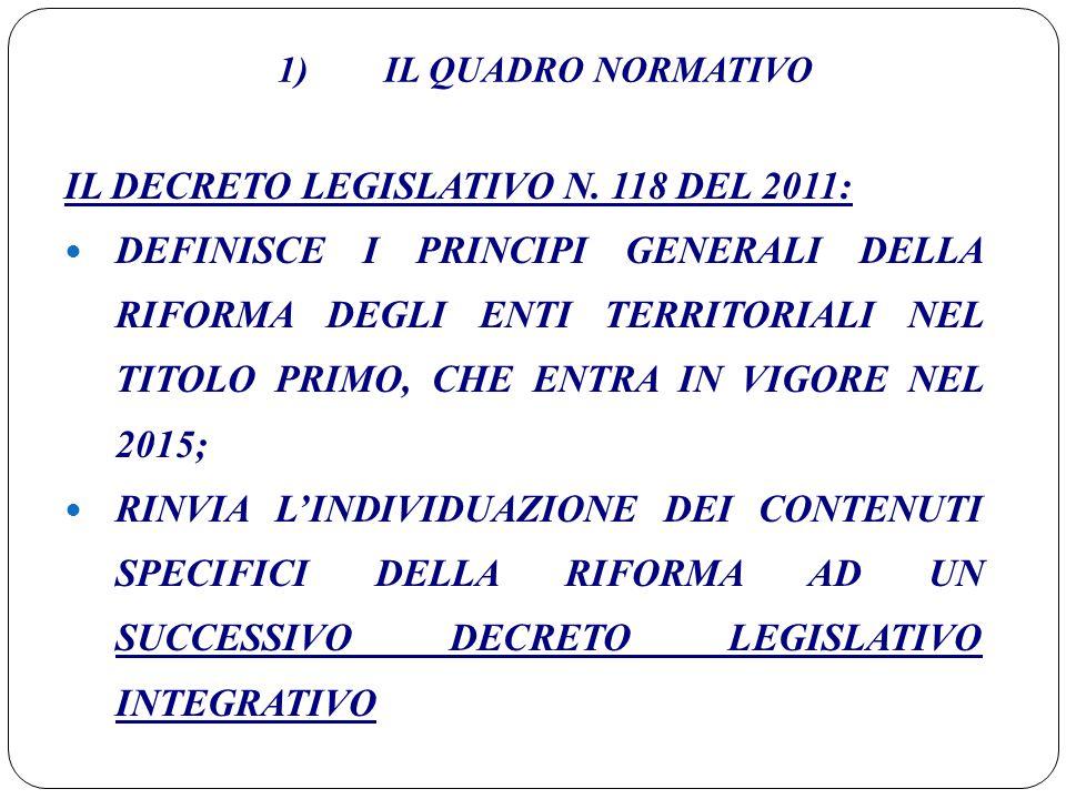 IL DECRETO LEGISLATIVO N. 118 DEL 2011: