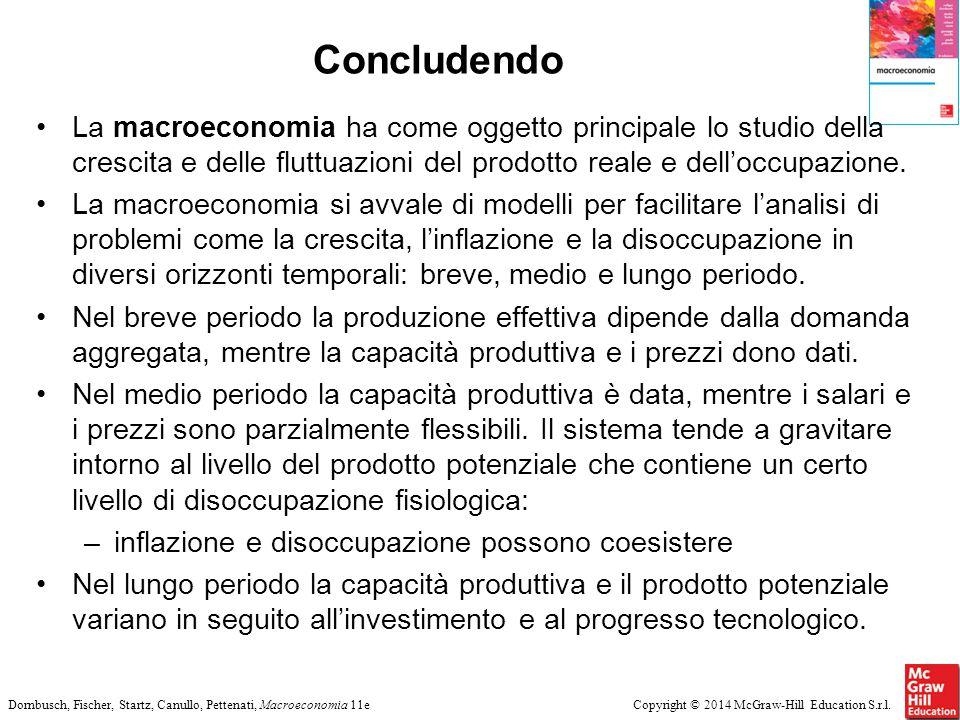 Concludendo La macroeconomia ha come oggetto principale lo studio della crescita e delle fluttuazioni del prodotto reale e dell'occupazione.