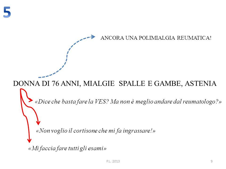 5 DONNA DI 76 ANNI, MIALGIE SPALLE E GAMBE, ASTENIA