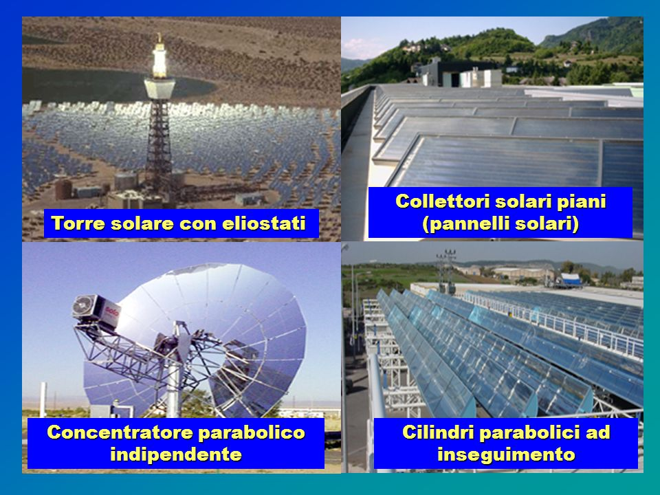 Collettori solari piani (pannelli solari) Torre solare con eliostati