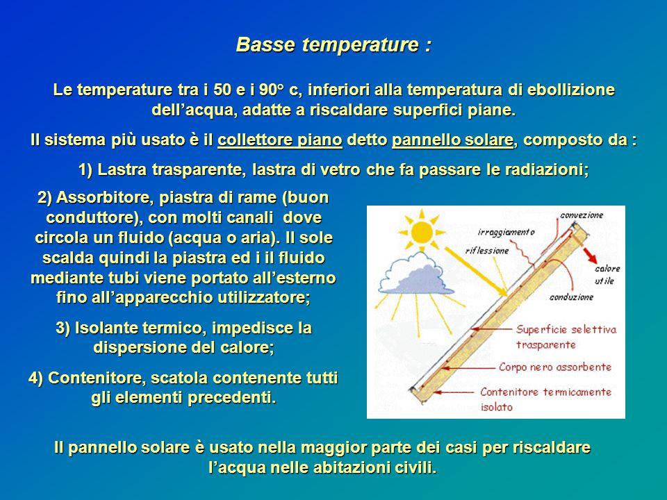 Basse temperature : Le temperature tra i 50 e i 90° c, inferiori alla temperatura di ebollizione dell'acqua, adatte a riscaldare superfici piane.