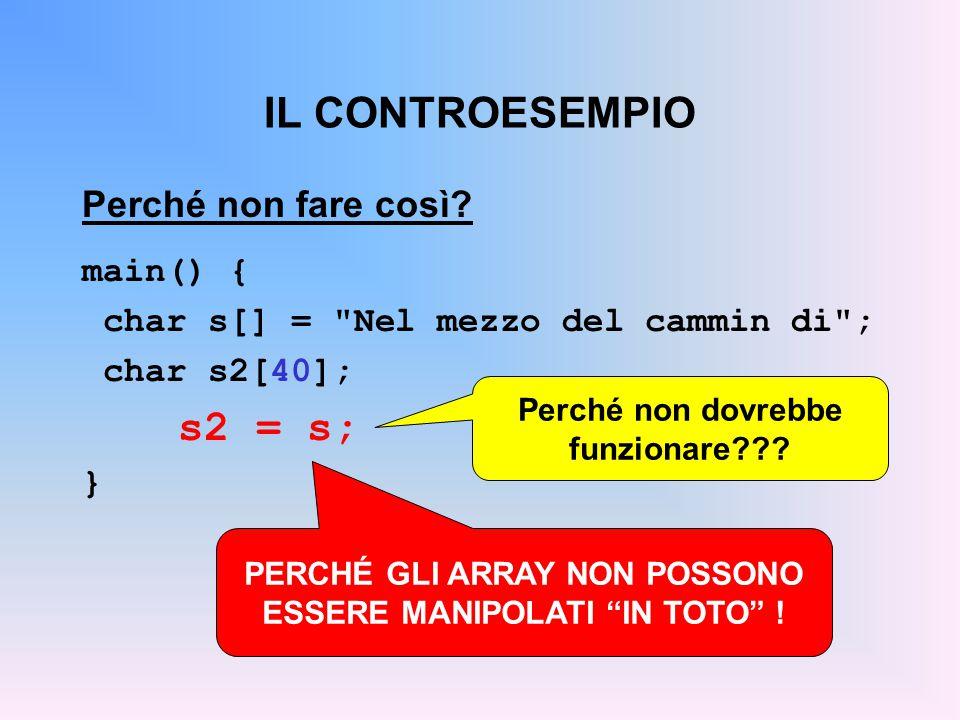 IL CONTROESEMPIO s2 = s; Perché non fare così main() {