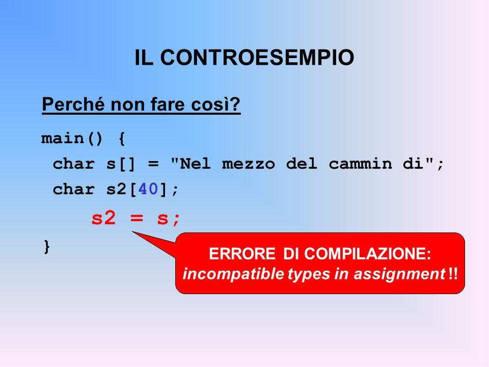 ERRORE DI COMPILAZIONE: incompatible types in assignment !!