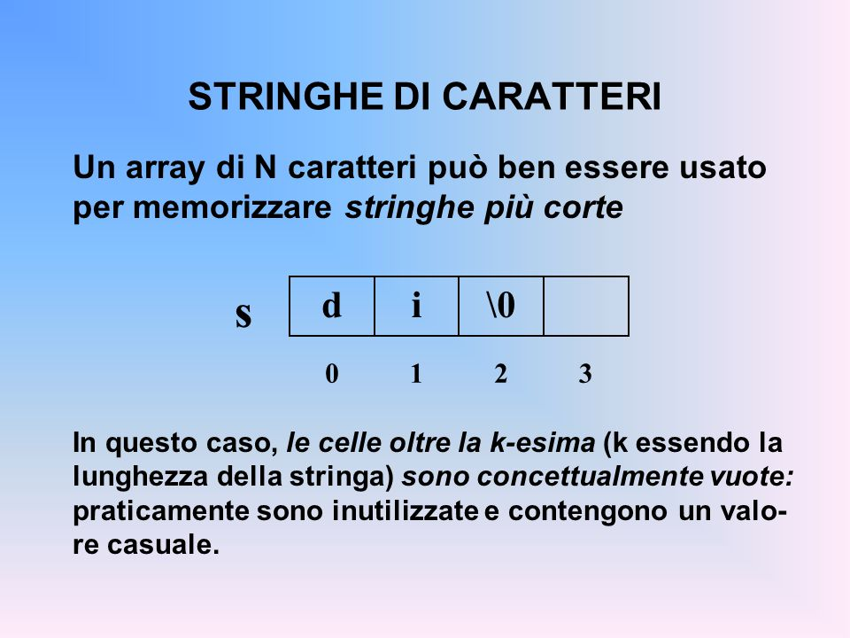 s STRINGHE DI CARATTERI d i \0