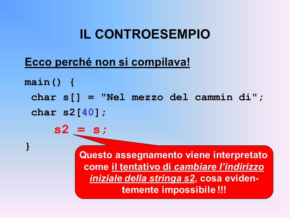 IL CONTROESEMPIO s2 = s; Ecco perché non si compilava! main() {