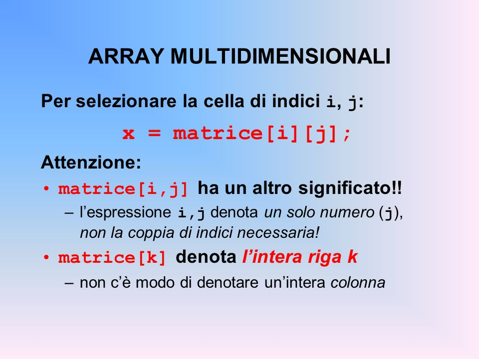 ARRAY MULTIDIMENSIONALI
