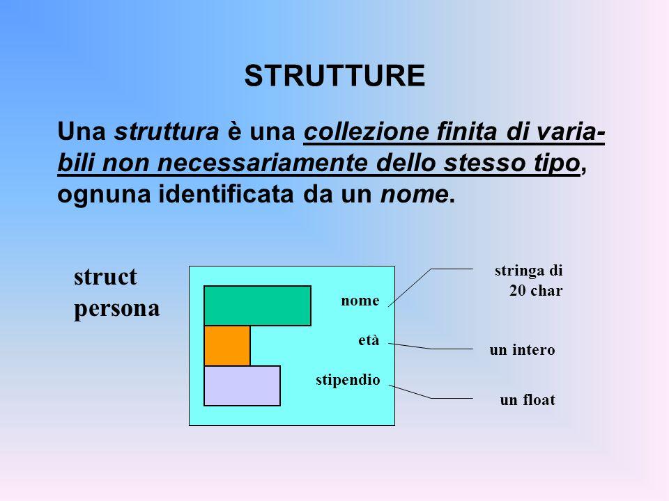 STRUTTURE Una struttura è una collezione finita di varia-