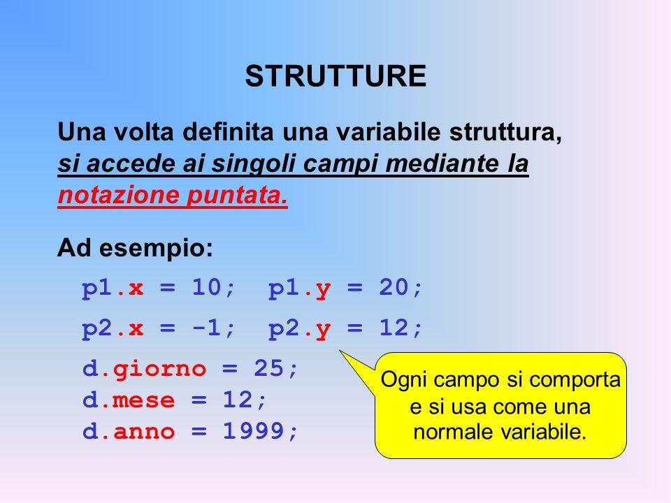 Ogni campo si comporta e si usa come una normale variabile.
