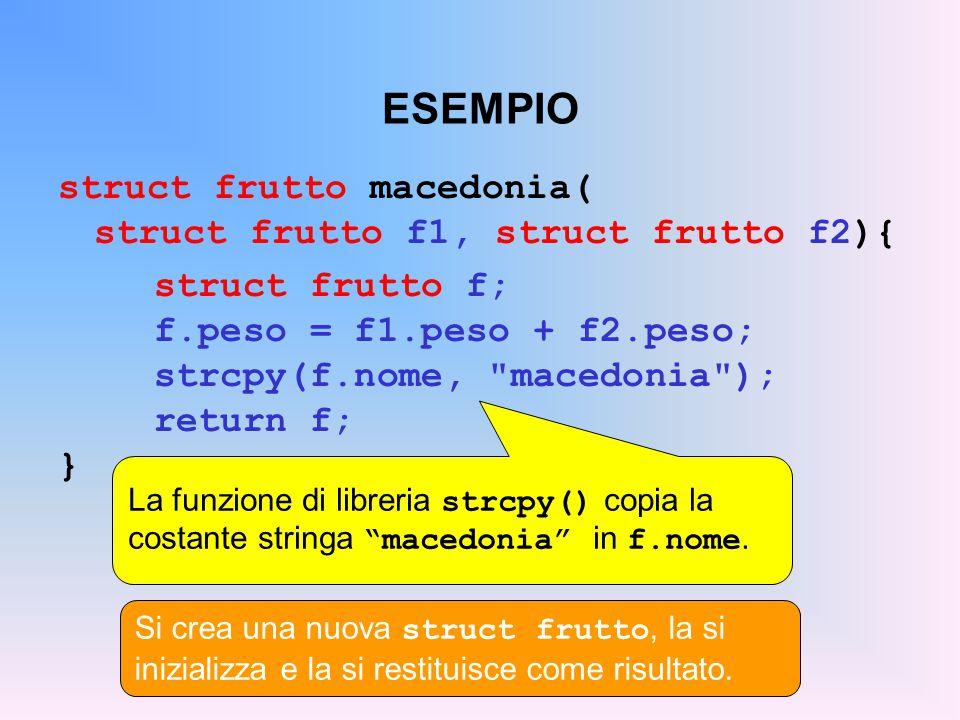 ESEMPIO struct frutto macedonia( struct frutto f1, struct frutto f2){