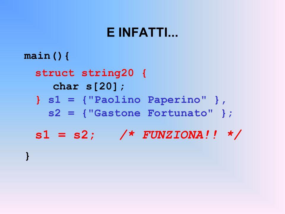 E INFATTI... s1 = s2; /* FUNZIONA!! */ main(){ struct string20 {
