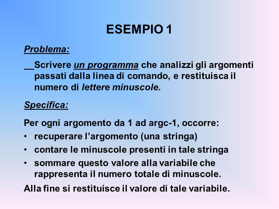 ESEMPIO 1 Problema: Scrivere un programma che analizzi gli argomenti passati dalla linea di comando, e restituisca il numero di lettere minuscole.