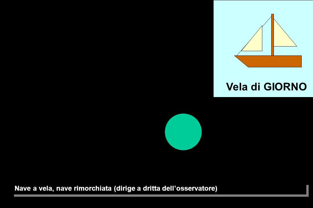 Vela di GIORNO Nave a vela, nave rimorchiata (dirige a dritta dell'osservatore)