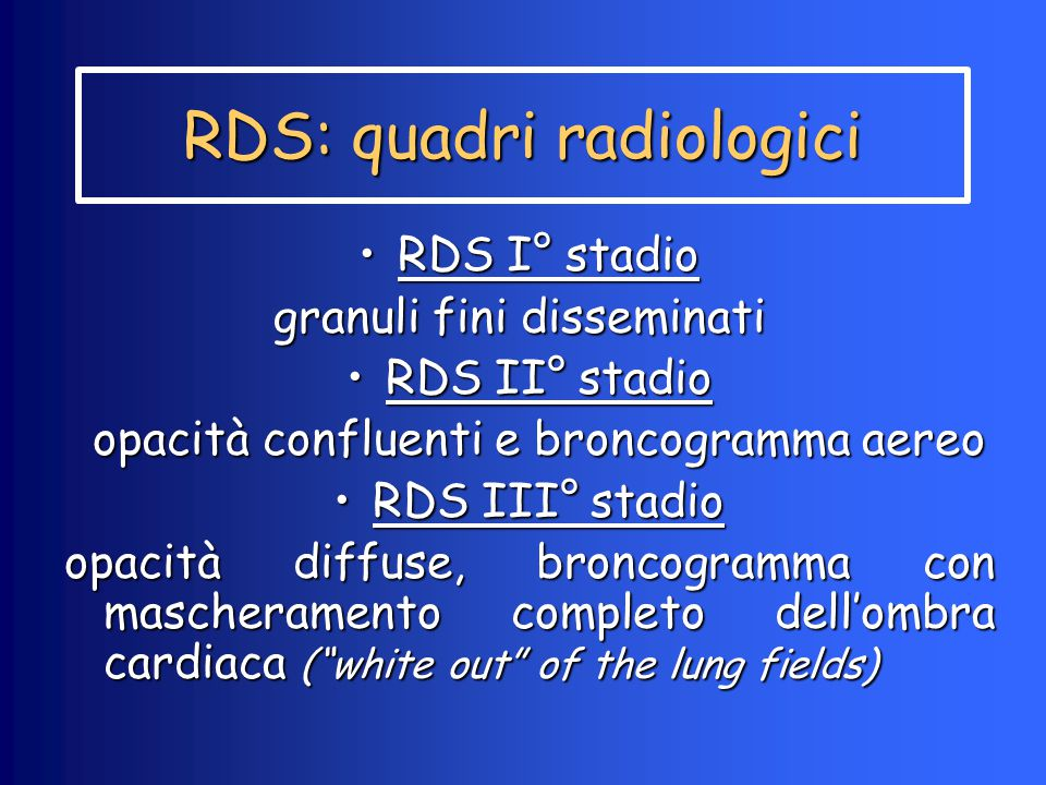 RDS: quadri radiologici