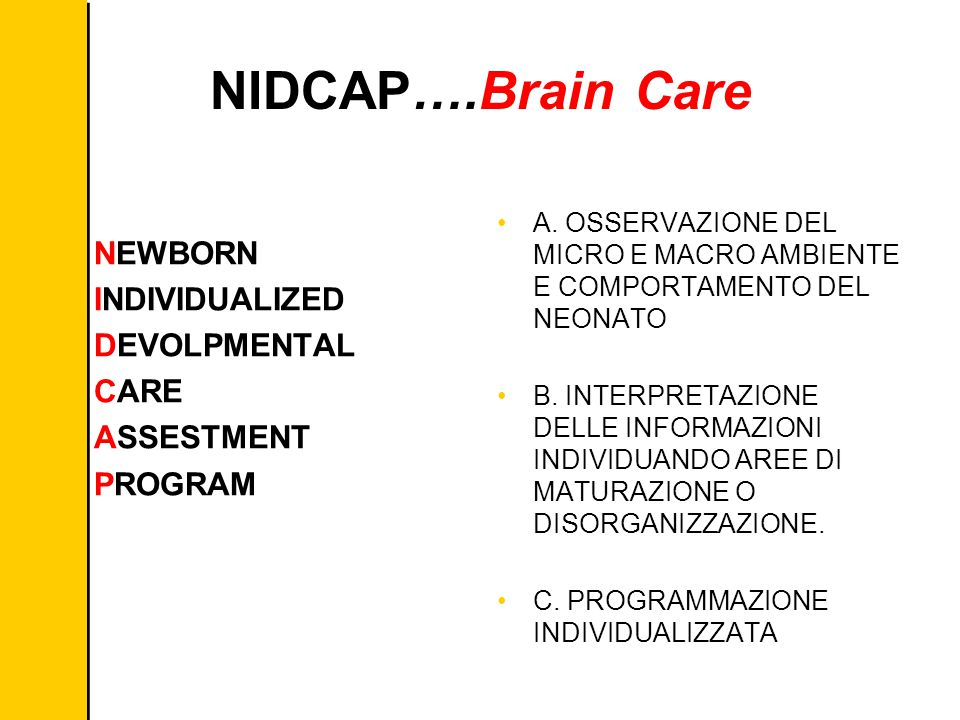 NIDCAP….Brain Care NEWBORN INDIVIDUALIZED DEVOLPMENTAL CARE ASSESTMENT