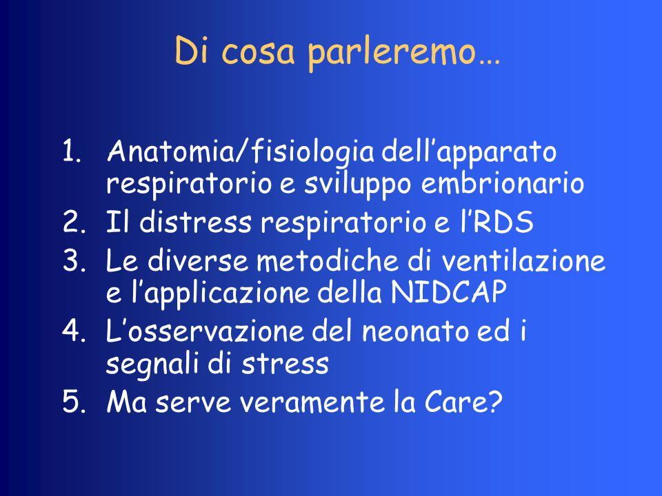 Di cosa parleremo… Anatomia/fisiologia dell'apparato respiratorio e sviluppo embrionario. Il distress respiratorio e l'RDS.