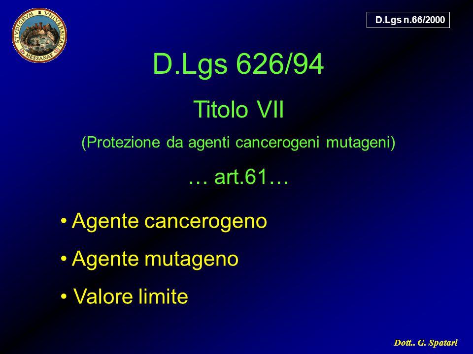 (Protezione da agenti cancerogeni mutageni)