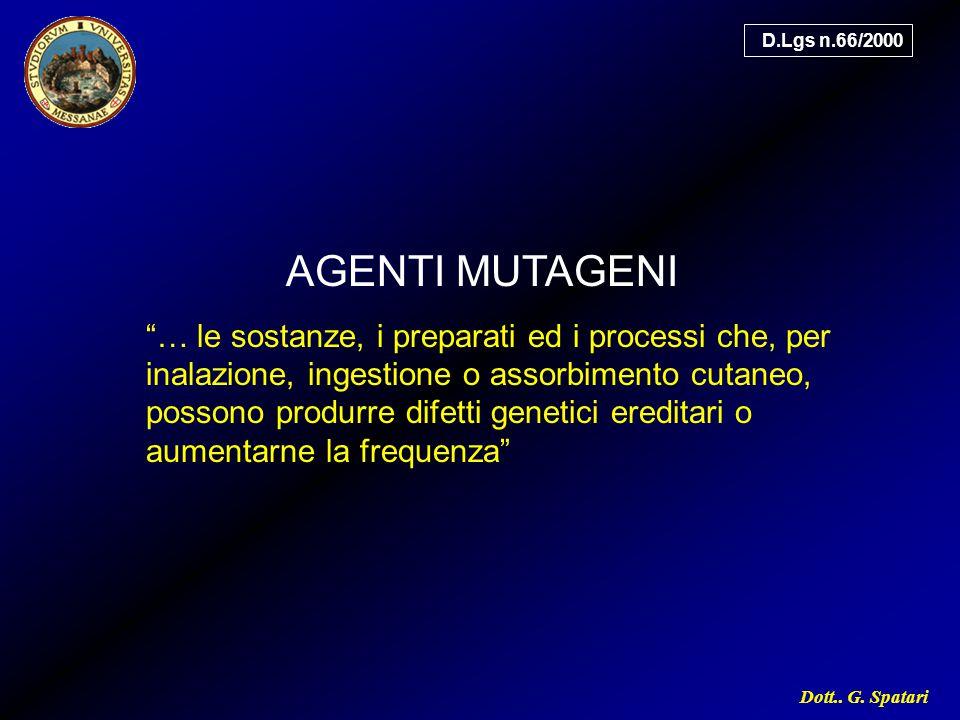 D.Lgs n.66/2000 AGENTI MUTAGENI.