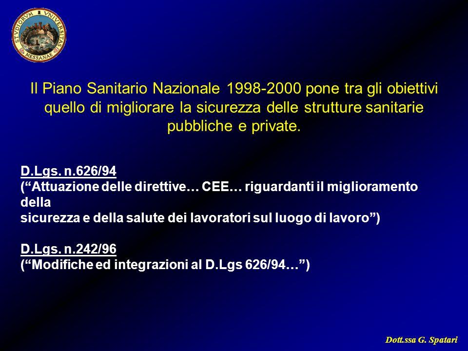 Il Piano Sanitario Nazionale 1998-2000 pone tra gli obiettivi quello di migliorare la sicurezza delle strutture sanitarie pubbliche e private.