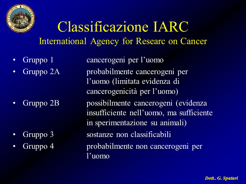 Classificazione IARC International Agency for Researc on Cancer