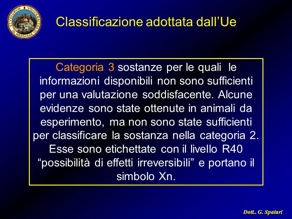 Classificazione adottata dall'Ue