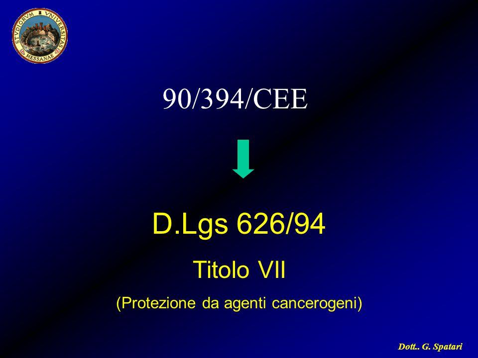 D.Lgs 626/94 Titolo VII (Protezione da agenti cancerogeni)