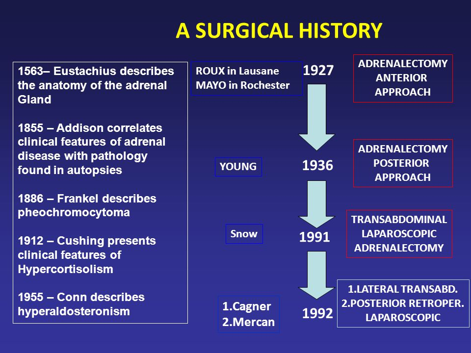 A SURGICAL HISTORY 1927 1936 1991 1992 1.Cagner 2.Mercan ADRENALECTOMY