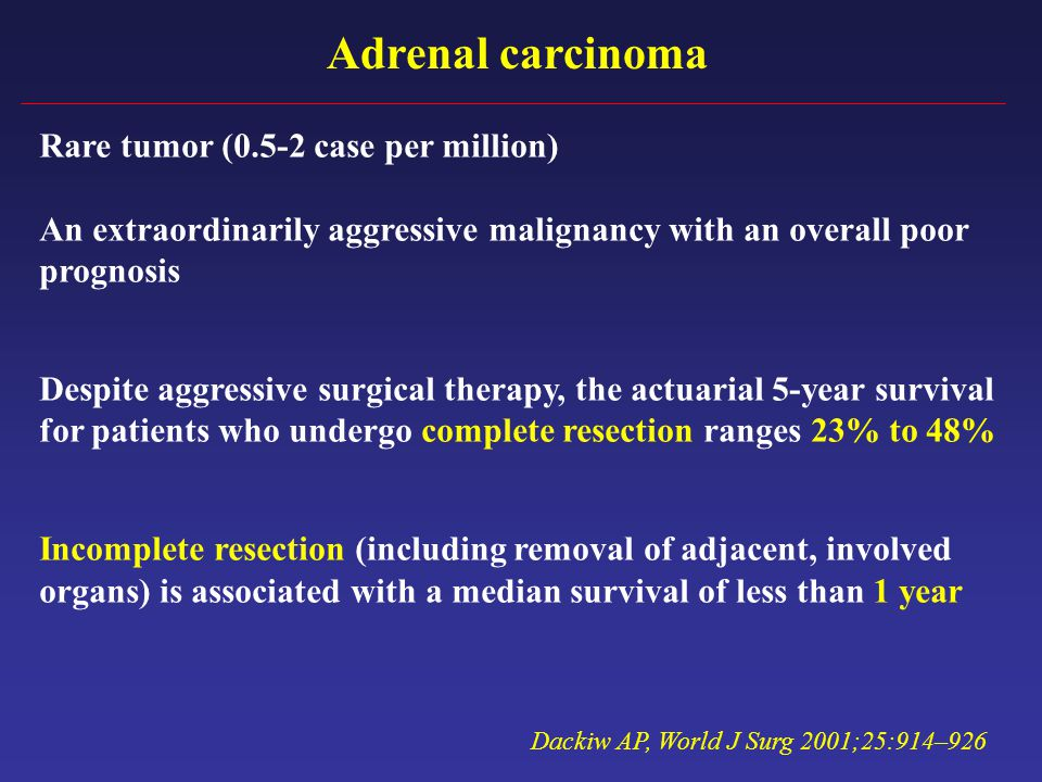 Adrenal carcinoma Rare tumor (0.5-2 case per million)