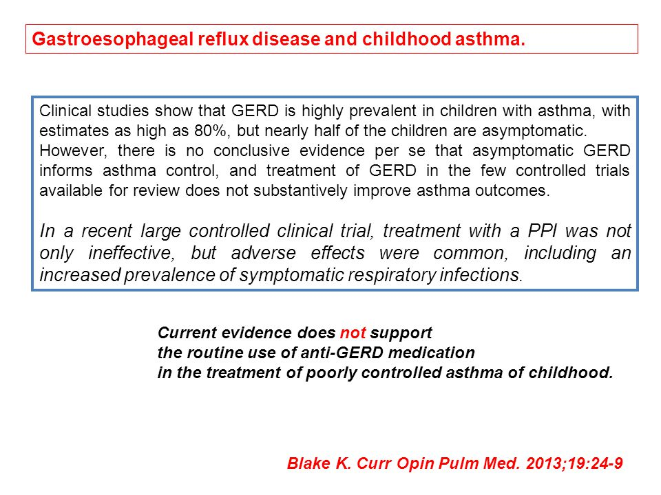 Gastroesophageal reflux disease and childhood asthma.