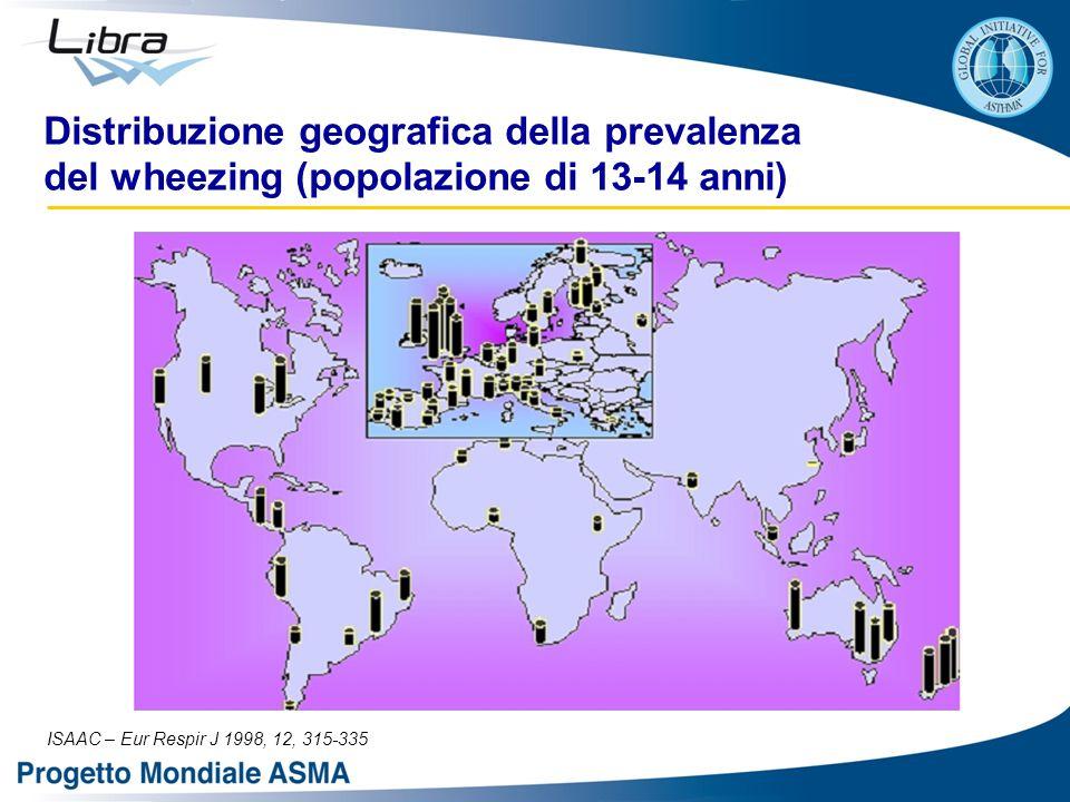 Distribuzione geografica della prevalenza del wheezing (popolazione di 13-14 anni)