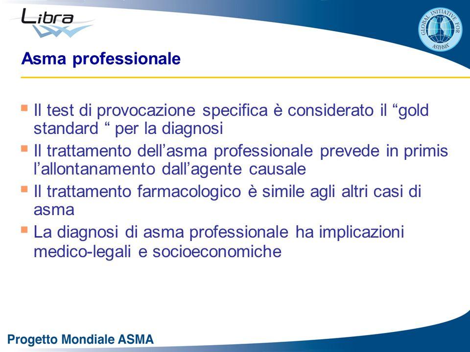 Asma professionale Il test di provocazione specifica è considerato il gold standard per la diagnosi.