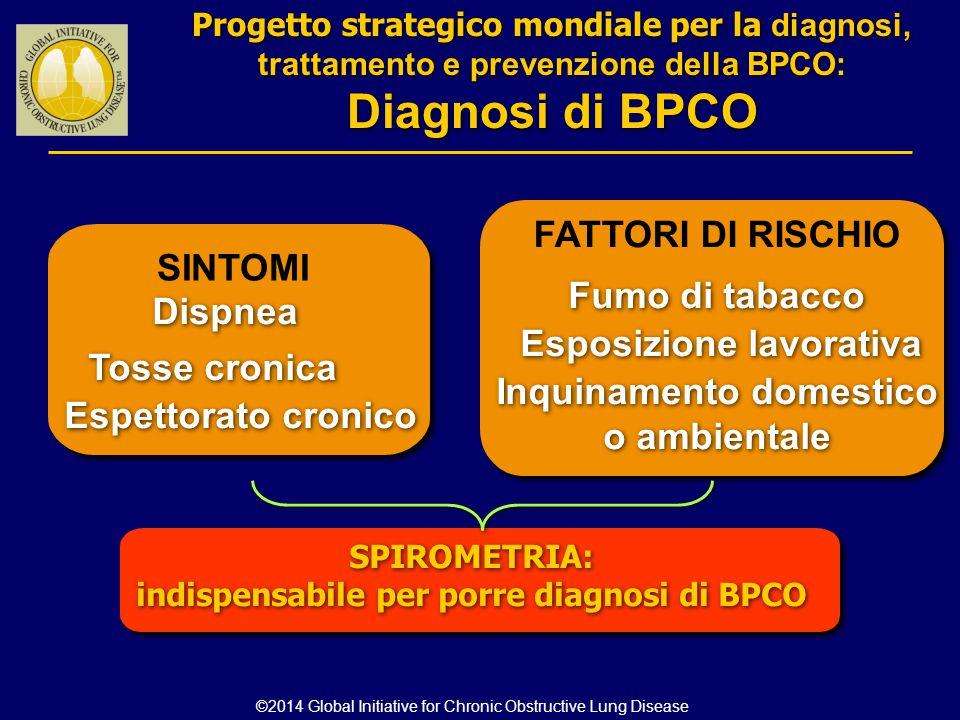 Diagnosi di BPCO FATTORI DI RISCHIO SINTOMI Fumo di tabacco Dispnea