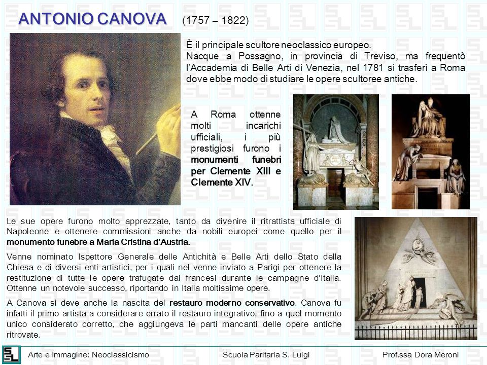 ANTONIO CANOVA (1757 – 1822) È il principale scultore neoclassico europeo.