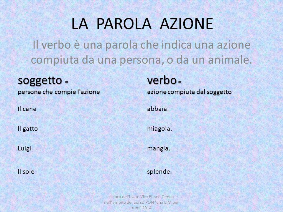 LA PAROLA AZIONE Il verbo è una parola che indica una azione compiuta da una persona, o da un animale.