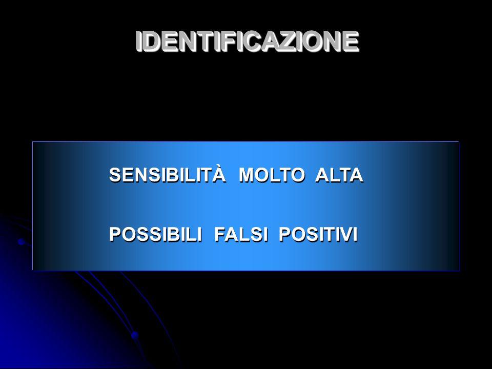 IDENTIFICAZIONE SENSIBILITÀ MOLTO ALTA POSSIBILI FALSI POSITIVI 4