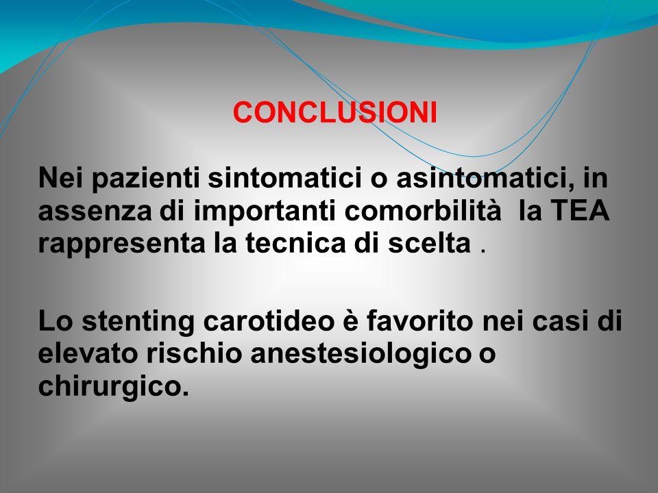 CONCLUSIONI Nei pazienti sintomatici o asintomatici, in assenza di importanti comorbilità la TEA rappresenta la tecnica di scelta .