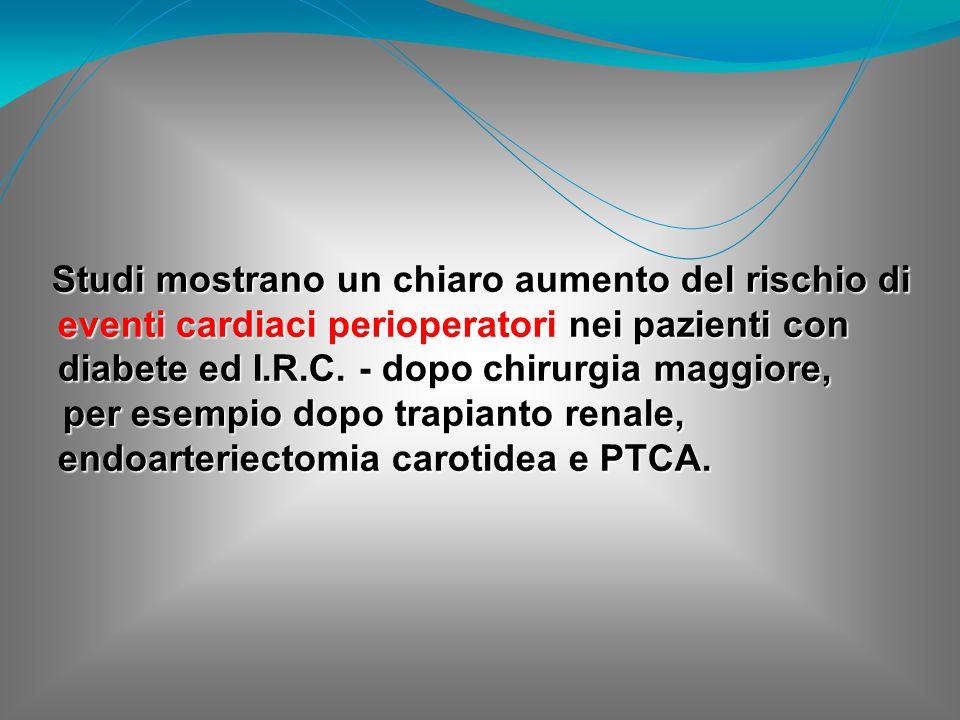 Studi mostrano un chiaro aumento del rischio di eventi cardiaci perioperatori nei pazienti con diabete ed I.R.C. - dopo chirurgia maggiore,