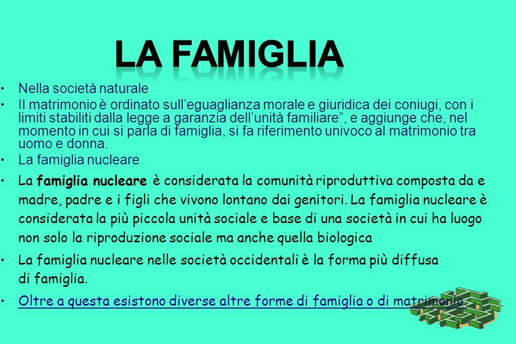 La famiglia Nella società naturale