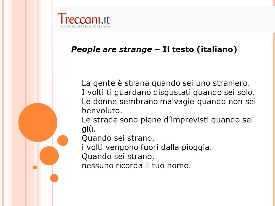 People are strange – Il testo (italiano)