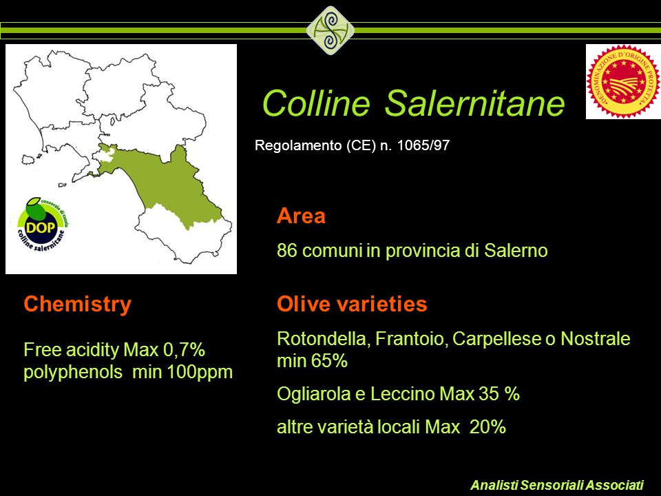 Colline Salernitane Area Chemistry Olive varieties