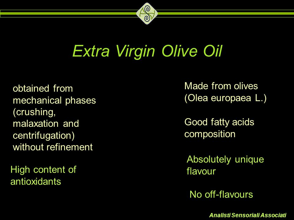 Extra Virgin Olive Oil Made from olives (Olea europaea L.)