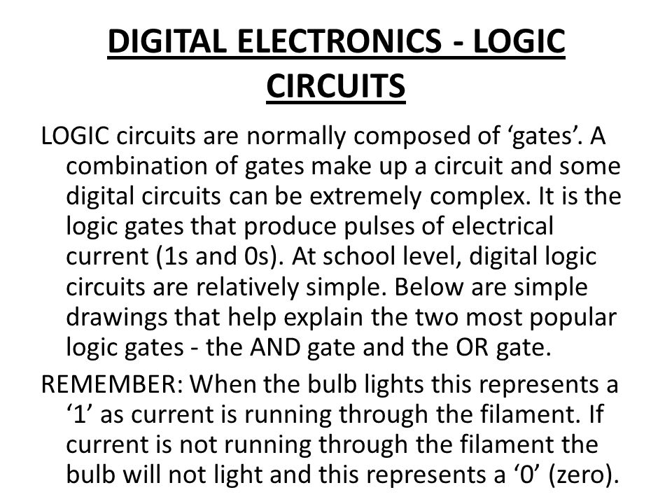 DIGITAL ELECTRONICS - LOGIC CIRCUITS