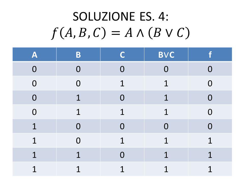 SOLUZIONE ES. 4: 𝑓 𝐴,𝐵,𝐶 =𝐴∧ 𝐵∨𝐶