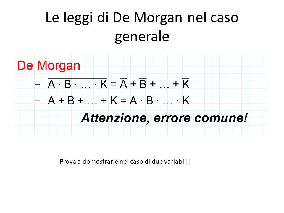 Le leggi di De Morgan nel caso generale