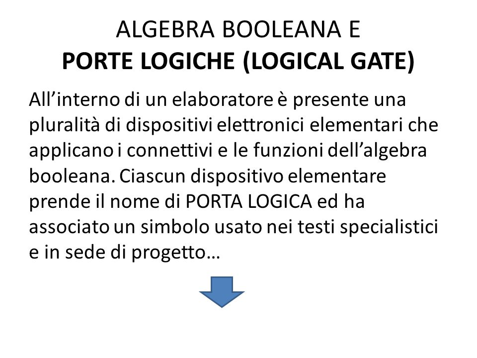ALGEBRA BOOLEANA E PORTE LOGICHE (LOGICAL GATE)