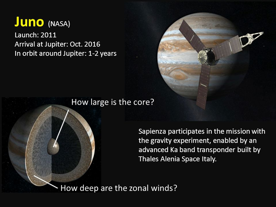 Juno (NASA) How large is the core How deep are the zonal winds